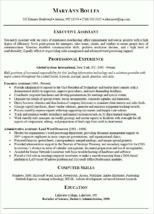 Professional and Chronological Resume Sample for Administrative ...