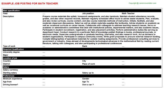 Math Teacher Job Title Docs