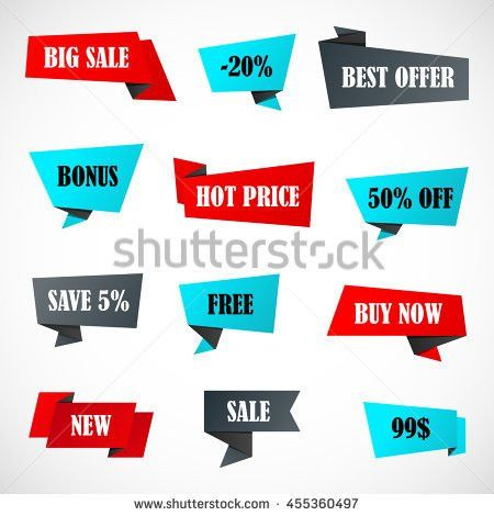 Vector Stickers Price Tag Banner Label Stock Vector 609249749 ...