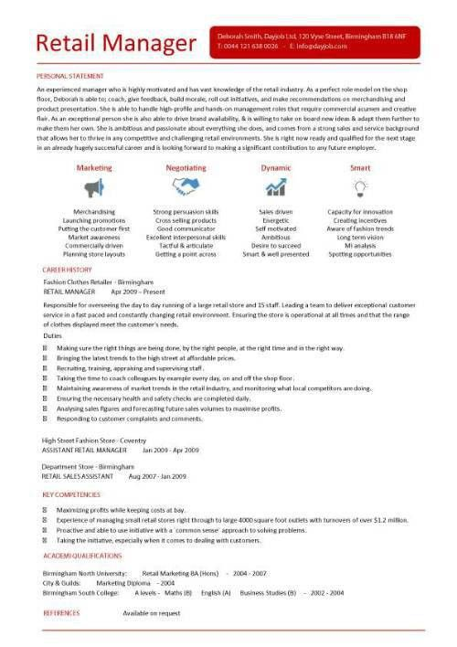 retail manager cv template example personal statement - Writing ...