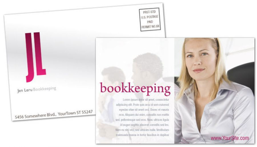 Postcard template for Bookkeeping Accounting Agent. Order Custom ...