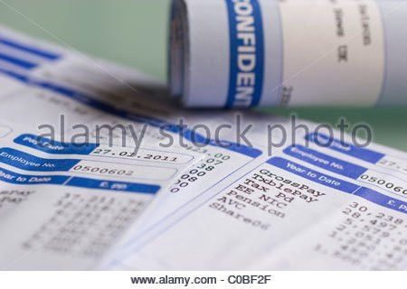 Wage slips, wages pay payslips wageslips Stock Photo, Royalty Free ...