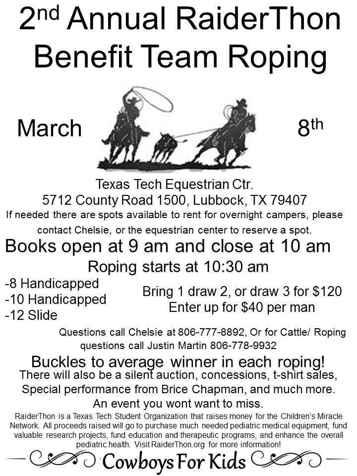 RaiderThon Benefit Team Roping – Cowboys For Kids! | RaiderThon ...
