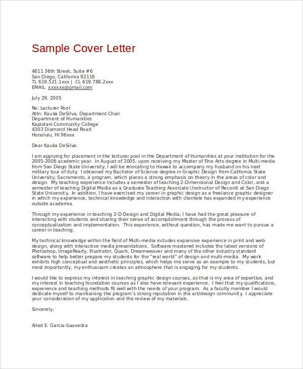 Sample Graphic Design Cover Letter - 8+ Examples in Word, PDF