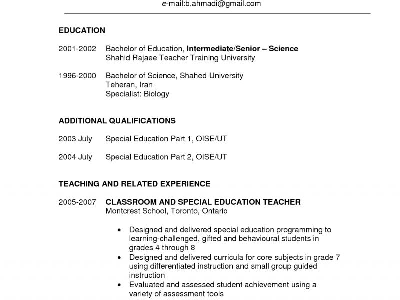 Special Education Teacher Resume Template Special Education
