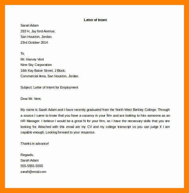7+ example of intent letter | resumes great