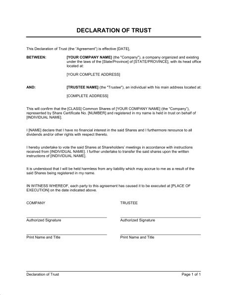 Declaration of Trust - Template & Sample Form | Biztree.com