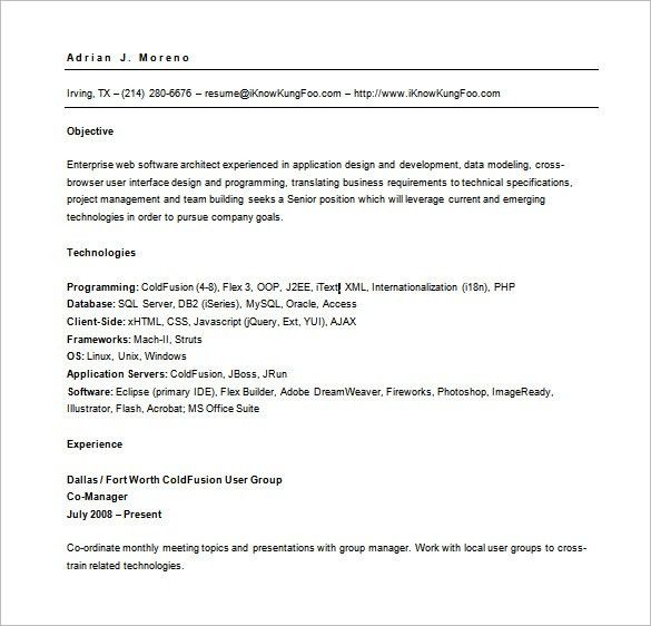 Web Developer Resume Template – 11+ Free Word, Excel,PS, PDF ...