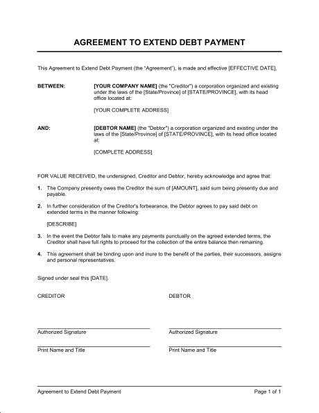 Agreement to Extend Debt Payment - Template & Sample Form ...