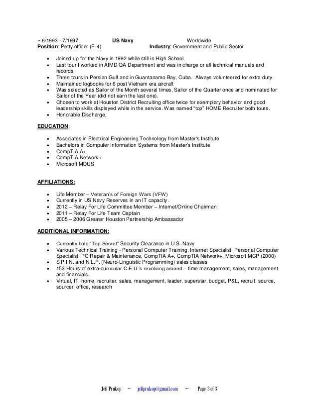 Jeff Prukop - Recruiter Resume