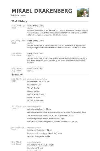 Data Entry Clerk Resume samples - VisualCV resume samples database