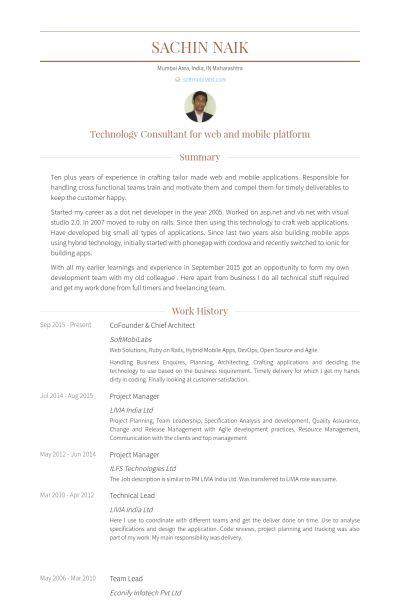 Cofounder Resume samples - VisualCV resume samples database