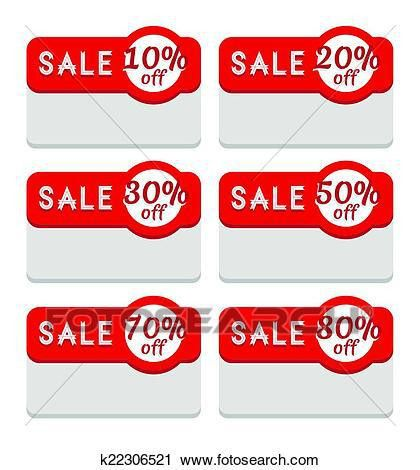 Clipart of Sale Tag Template, Various Discount Percentage ...