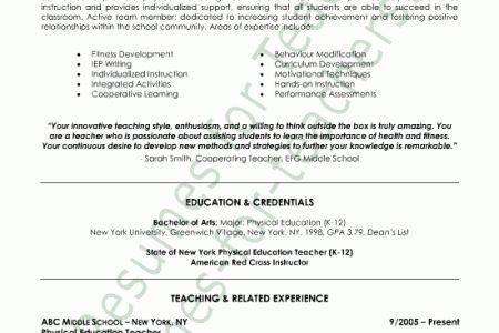 Physical Education Teacher Resume Sample - Reentrycorps