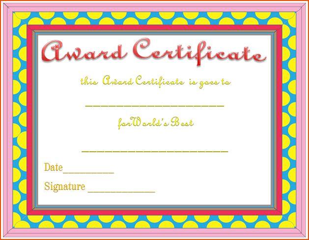 8+ award certificate template word - bookletemplate.org