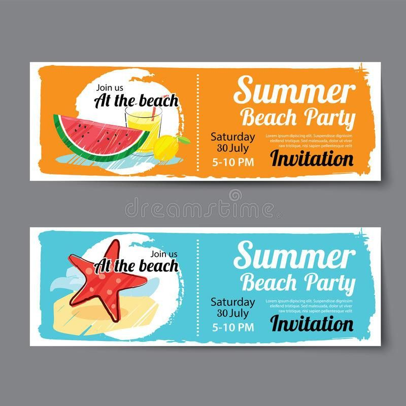 Summer Pool Party Ticket Template Stock Vector - Image: 74953514