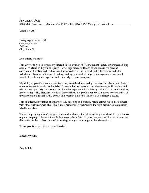 Cover Letter Writing Examples | The Best Letter Sample