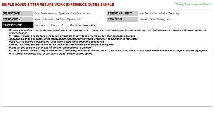 House Sitter Job Title Docs