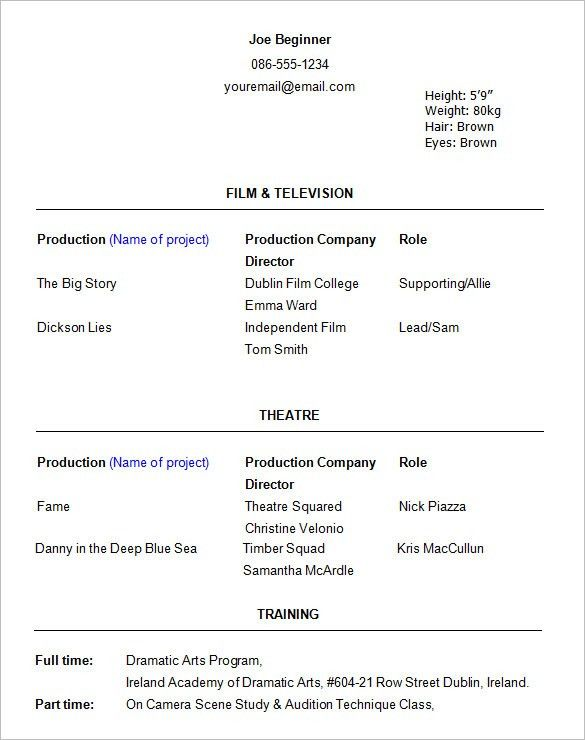 examples of acting resumes examples of resumes example resume