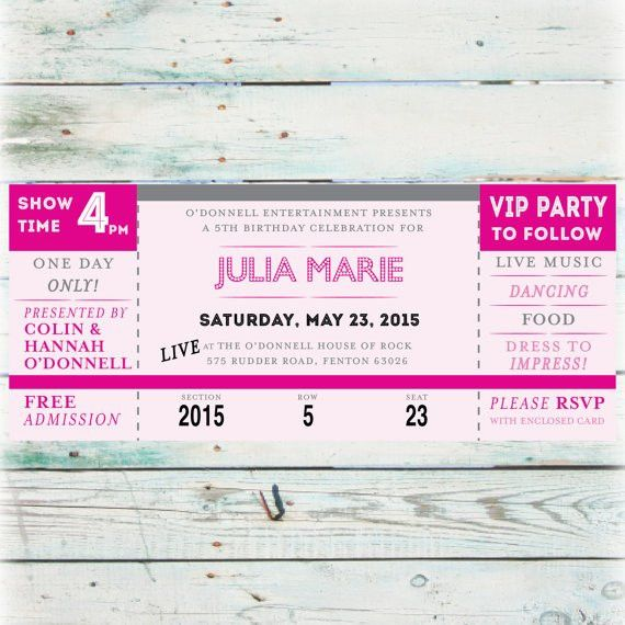 DIY Birthday Invitation - Printable Concert Ticket Birthday ...