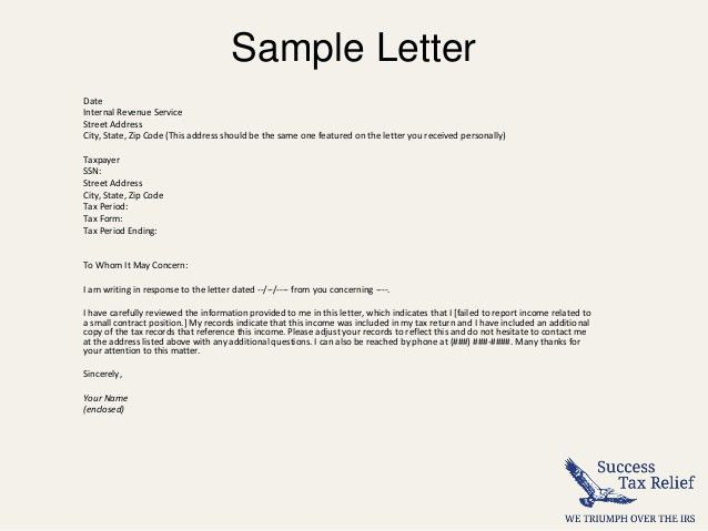 How To Write a Letter of Explanation to the IRS. From Success Tax R…
