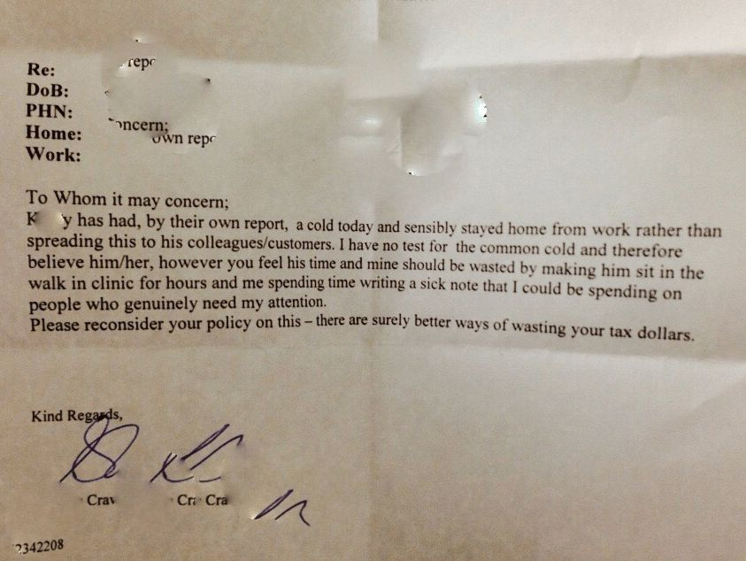 Pizza Hut doctor's note for sick leave - Business Insider