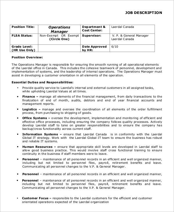 Sample General Manager Job Description - 8+ Examples in PDF, Word