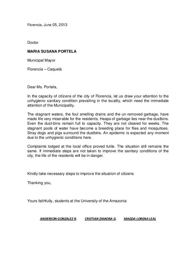 complain letters - Template