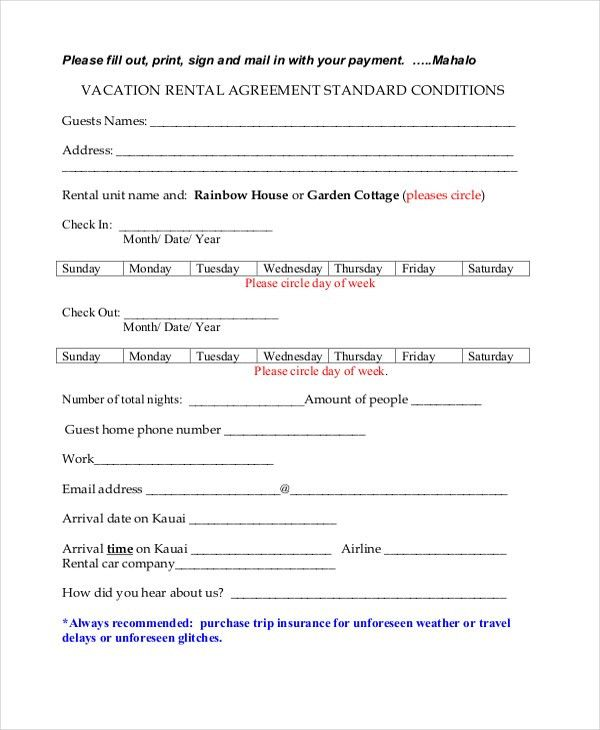 Vacation Rental Agreement Template. Basic Vacation Rental ...