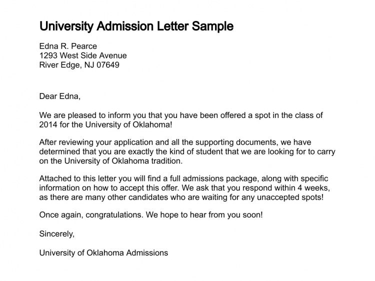 Letter of Admission