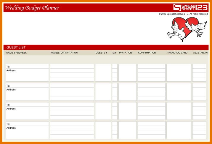 7+ wedding guest list template excel | Itinerary Template Sample