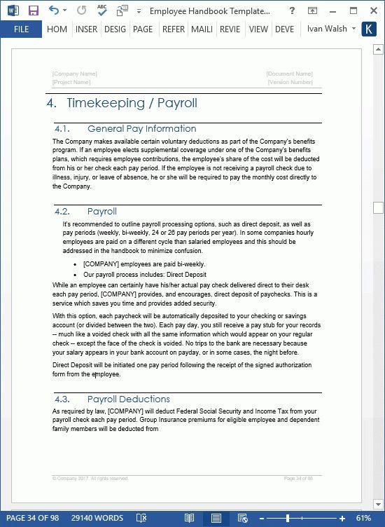 Company Handbook Template | Template Design