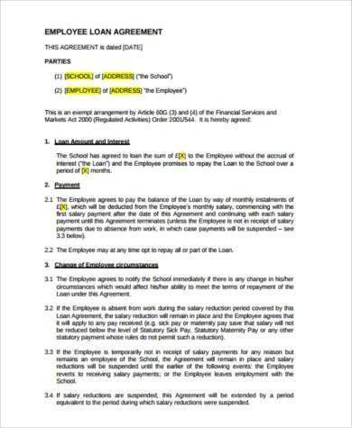 Sample Employee Loan Agreements - 9+ Free Documents in Word, PDF