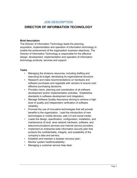 Director of Information Technology Job Description - Template ...