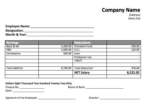 Salary Slip Template – Word Documents