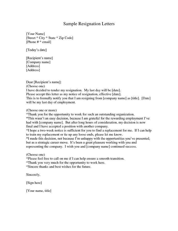 Resignation Letter : Free Sample Letter Of Resignation Template ...