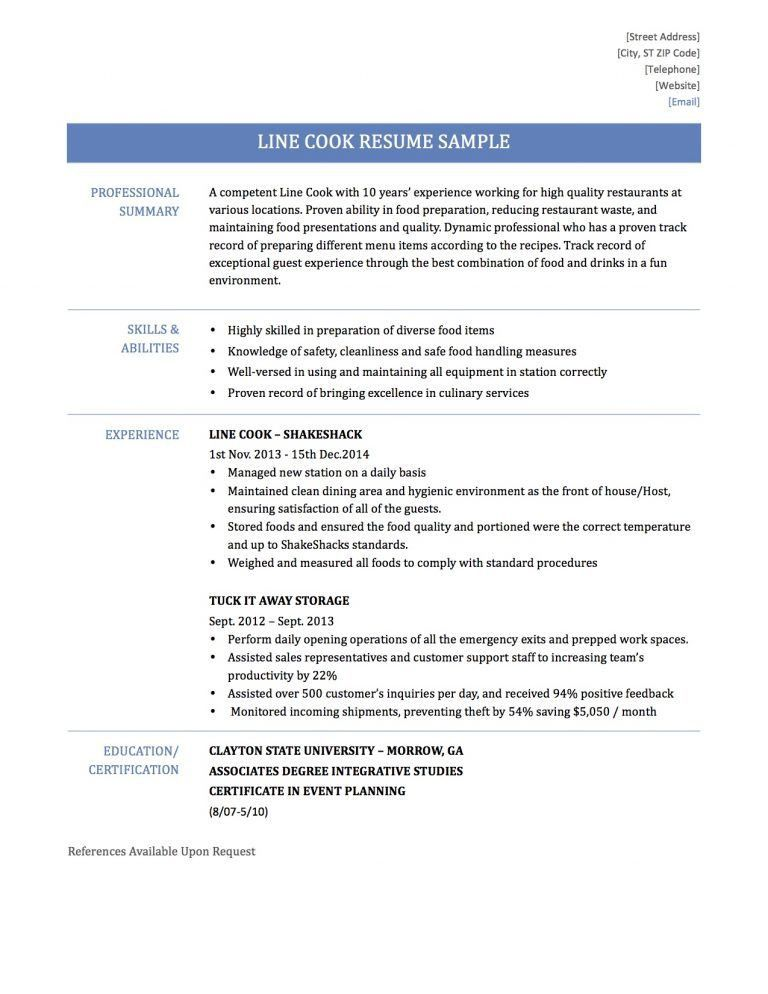 Nice Design Ideas Line Cook Resume 3 Line Cook Resume Sample ...
