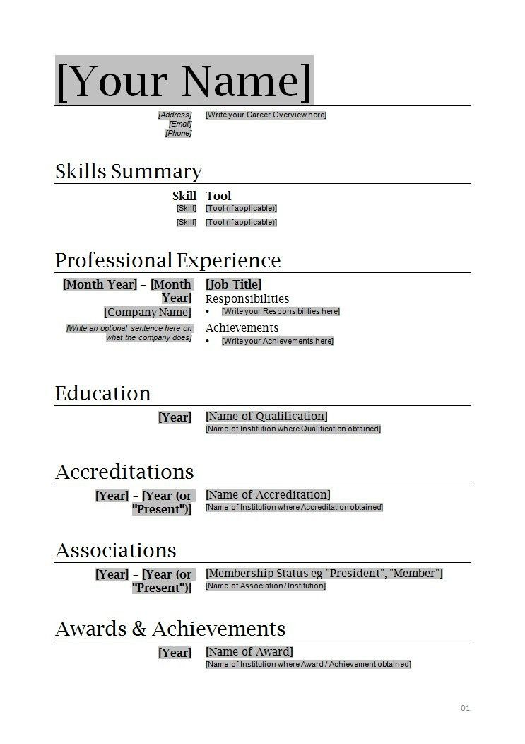 Job Resume Template Download. Basic Resume Template For Job ...