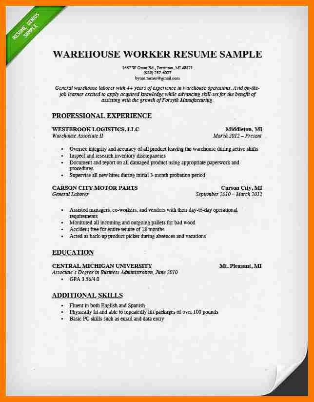 resume templates for warehouse worker warehouse worker resume