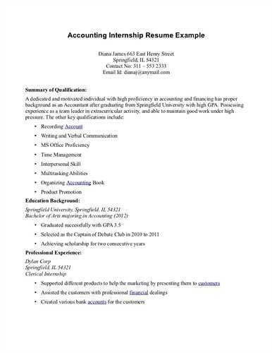 sample resume for accounting internship junior accounting resume