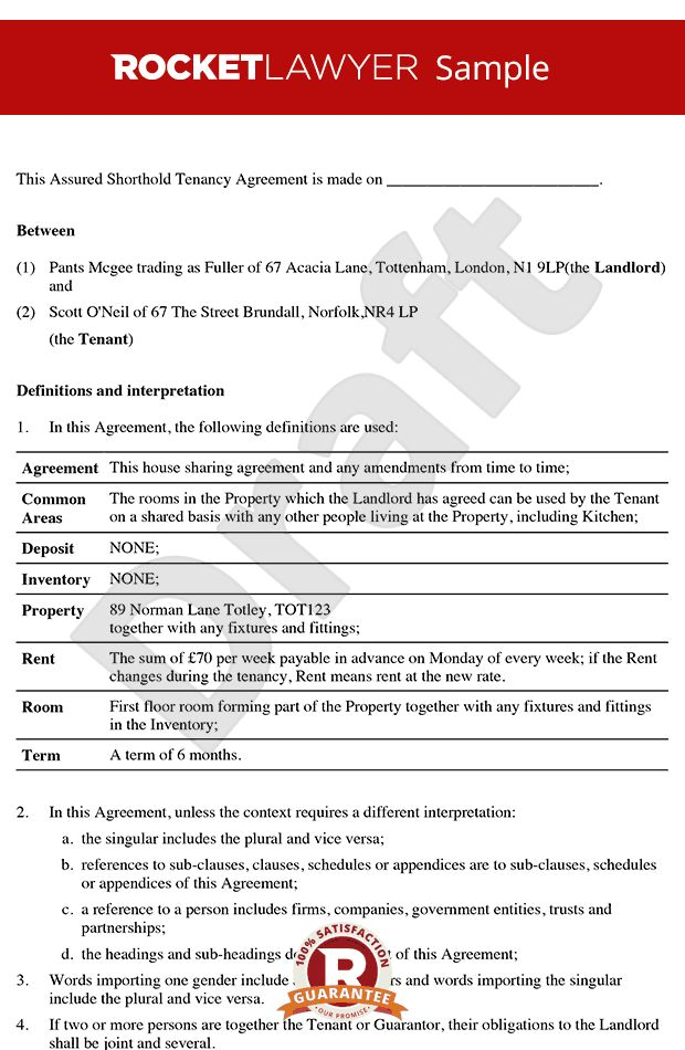 rental agreement - Tenancy Agreement For Rooms in Shared House