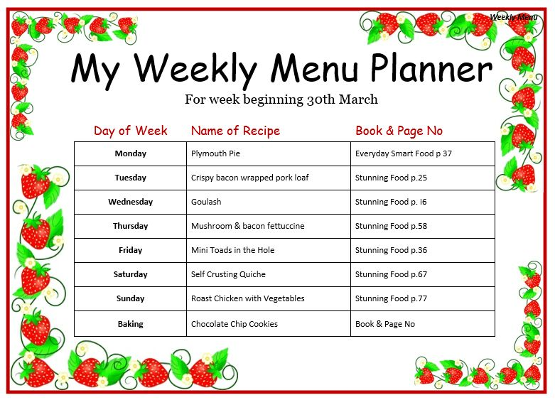 28+ [ Weekly Menu Templates Free ] | Printable Blank Menu For Kids ...