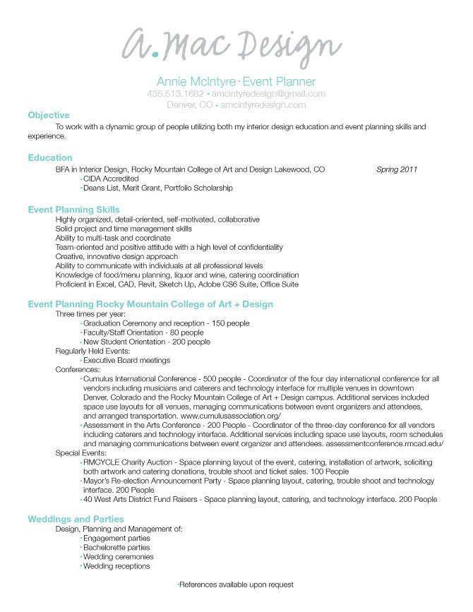 Event Planner Resume Example 1 | ilivearticles.info