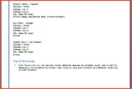 LIST OF REFERENCES TEMPLATE   Proposalsheet.com