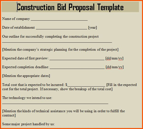 15+ construction bid proposal template | Survey Template Words