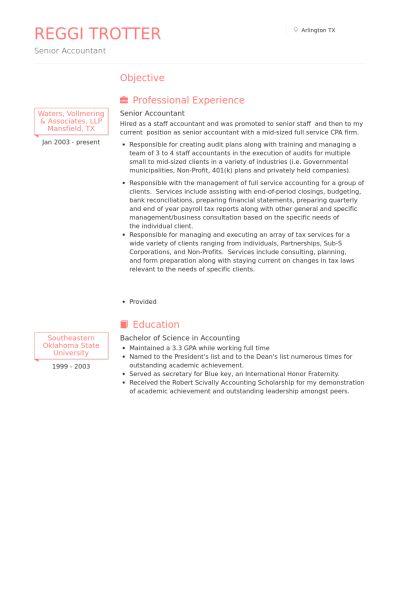 senior accountant resume