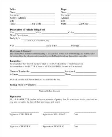 Printable Vehicle Purchase Agreement Sample Vehicle Purchase