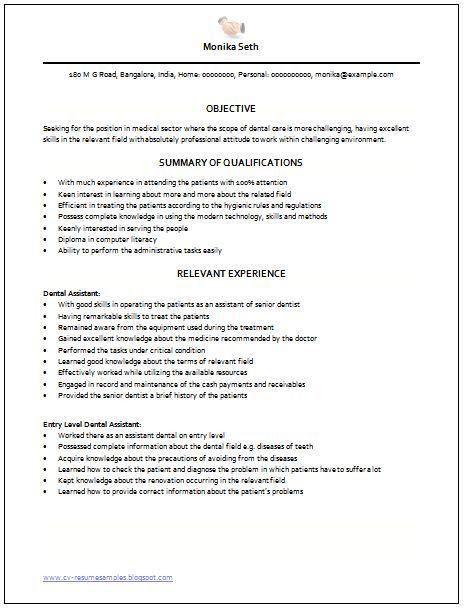 entry level dental assistant resume dental assistant. 10 images of ...