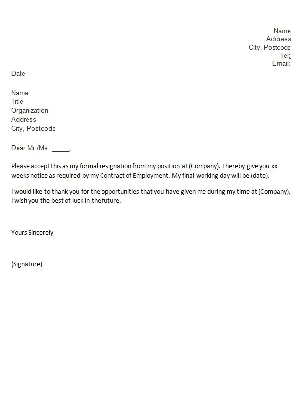 sample teacher resignation letter format. formal resignation ...