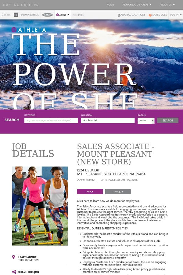 Sales Associate job at The Gap Inc. in Mount Pleasant, SC ...